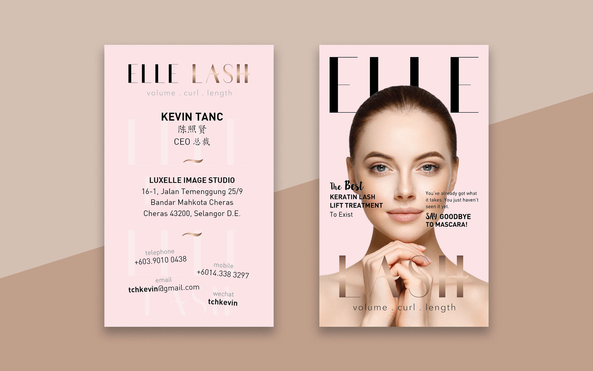 elle lash business card design