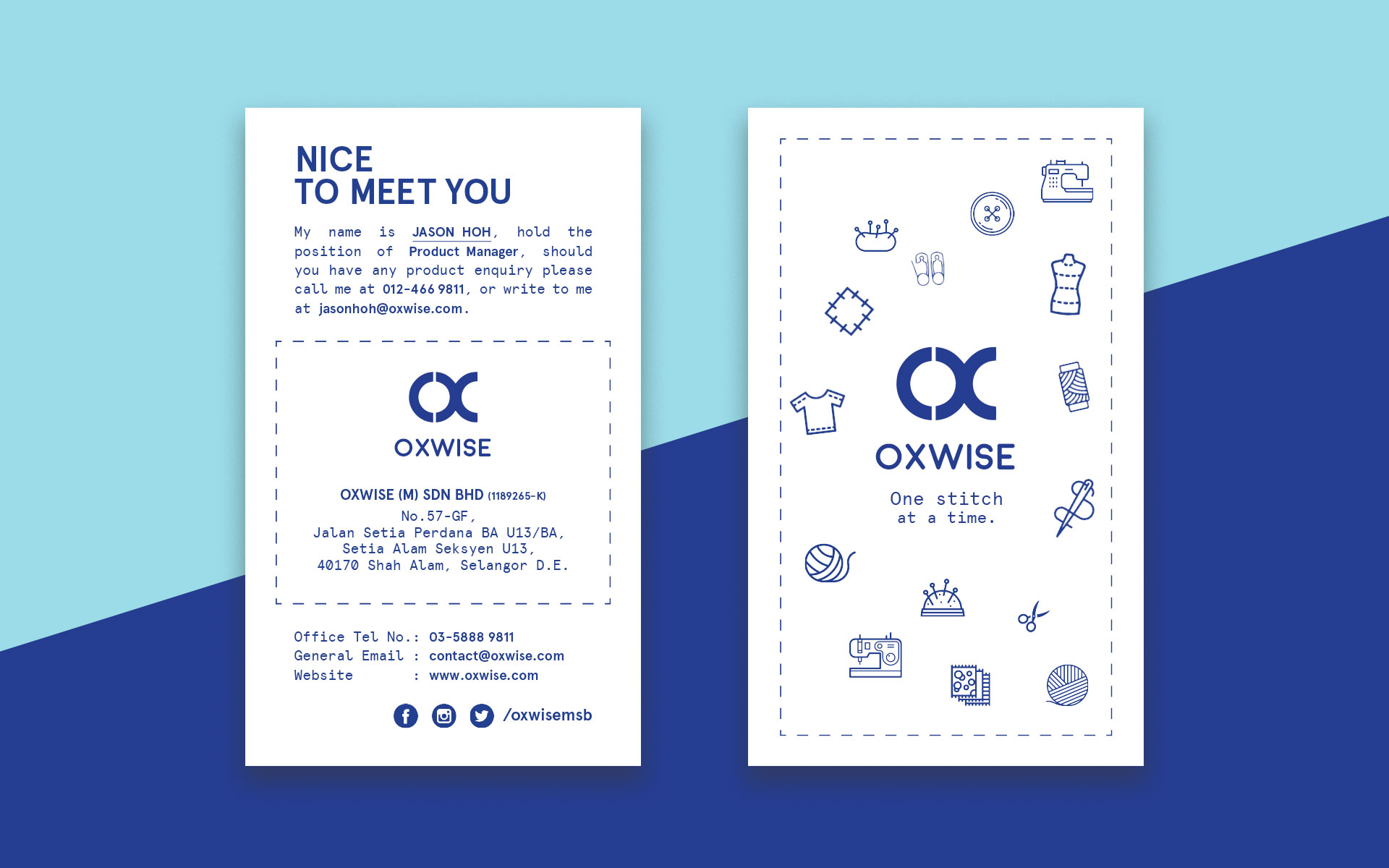 oxwise (m) sdn bhd business card design